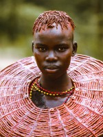 Pokot Initiate with Ochered Collar, Kenya