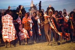 Maasai Warriors Arrive for the Eunoto Ceremony, Kenya