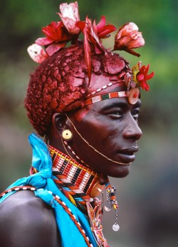 Samburu Warrior Adorned with French Silk Roses, Kenya