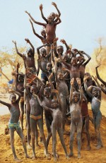 Dinka Children on Termite Mound, South Sudan