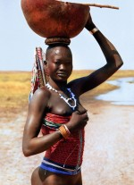Dinka Woman with Corset Carrying Calabash, South Sudan