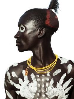 Karo Man with Chalk Handprint Motif, Ethiopia