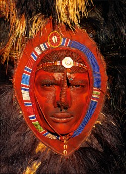 Maasai Warrior with Red Ochre Face Paint, Kenya