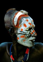 Karo Man with Painted Chalk Mask, Ethiopia