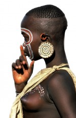 Surma Girl with Hand to Mouth, Ethiopia