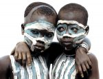 Two Surma Children Painted as Twins, Ethiopia
