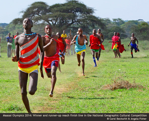 Runners at the Maasai Olympics 2014 by Carol Beckwith & Angela Fisher