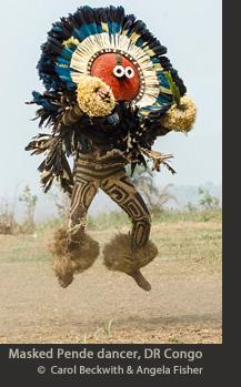 Masked Pende dancer, DR Congo