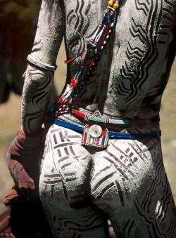 Maasai Warrior Painted with Chalk, Kenya