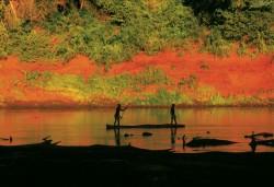 Karo Men in Dugout Canoe, Omo River, Ethiopia