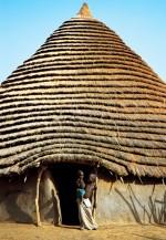 Dinka Children in Front of Hut, South Sudan