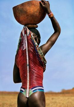 Dinka Woman Wearing Corset, South Sudan