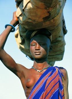 Dinka Woman Carrying Load, South Sudan